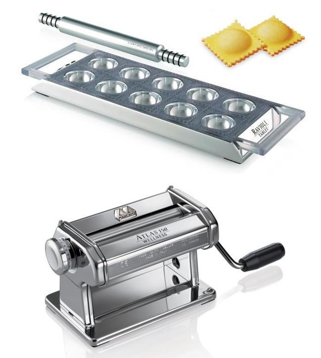 Marcato Atlas 150 Roller раскатка для теста + Tablet Ravioli планшет для равиоли