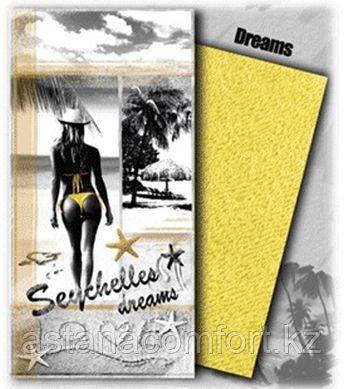 Пляжное полотенце велюрово-махровое «DREAMS» в подарочной коробке