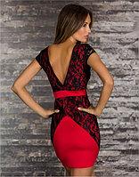 Красно-черное платье карандаш