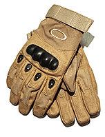 Тактические перчатки беж. Полнопалые, с усиленной защитой, фото 1