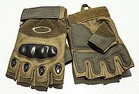 Тактические перчатки хаки. Беспалые, с усиленной защитой