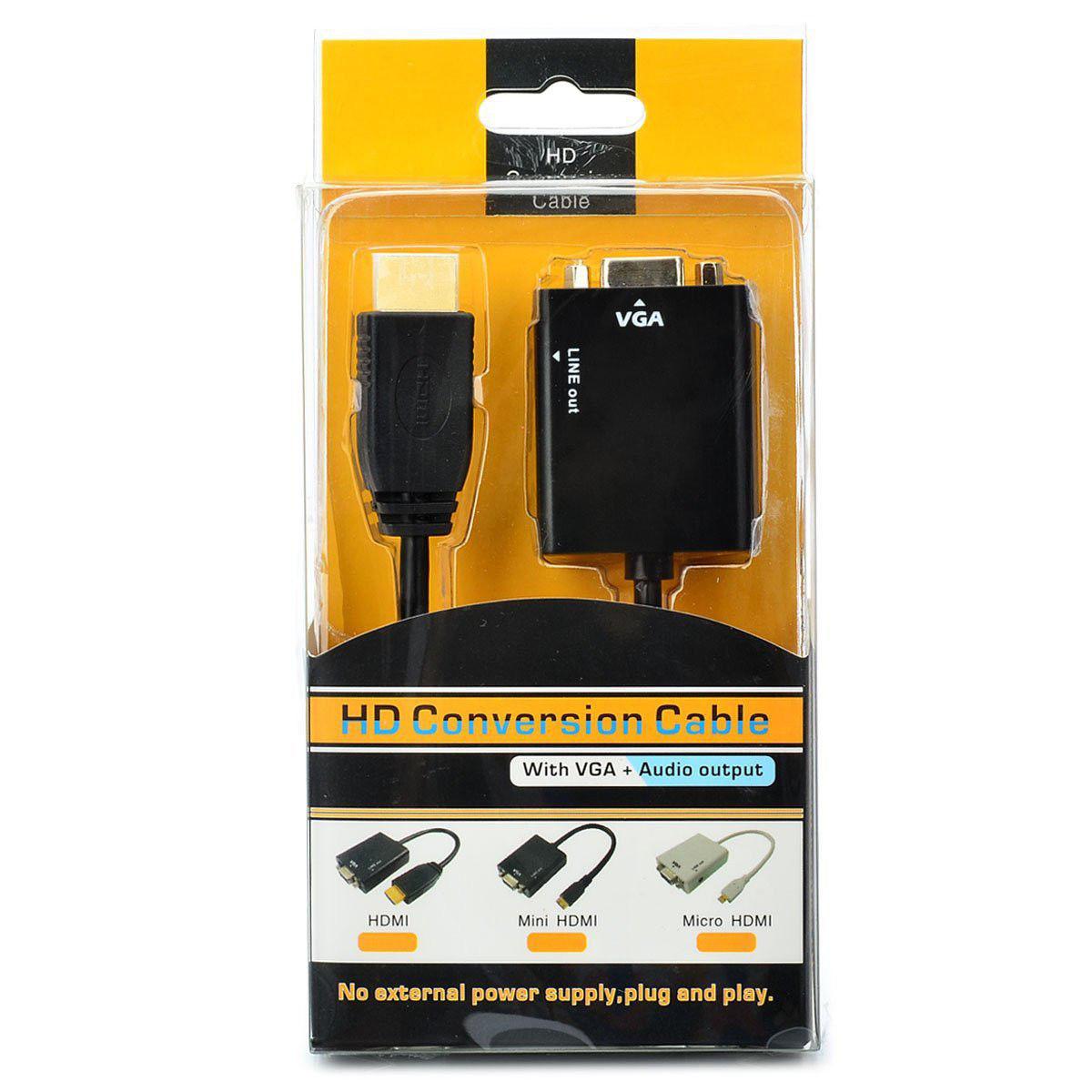 Адаптер HDMI -VGA 15pin mama+3,5стерео/звук/ HD conversion cable