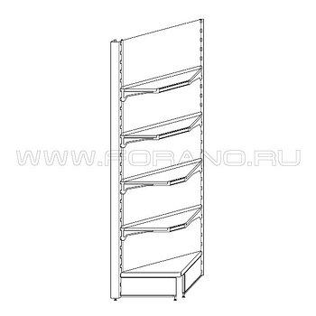 Стеллаж металлический угловой внутренний 2500/500/400