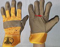 Перчатки кожаные на фланелевой подкладке,Строительные, рабочие перчатки, рукавицы оптом в Алматы, фото 1