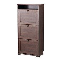 Шкаф для обуви 3 отделения БРУСАЛИ коричневый ИКЕА, IKEA  , фото 1