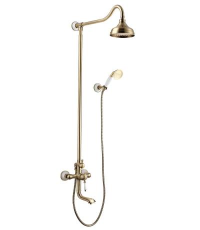 """LM4862B Серия VILLA. Смеситель для ванны с верхней душевой лейкой """"Тропический дождь"""", бронза"""