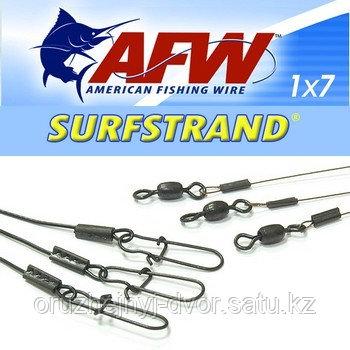 Поводок оснащенный AFW Surfstrand Camo 1х7  9кг (15см)