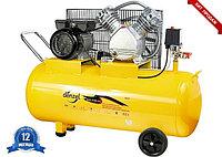 Компрессор пневматический, 1,5  кВт, 370 л/мин, 100 л | DENZEL