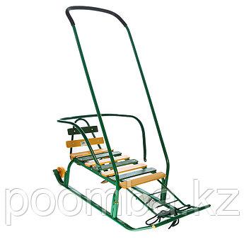 Санки детские Тимка 8 Комфорт с колесом, цвет: зеленый