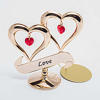 """Сувенир """"Два сердца с красным камнем"""" 9*8 см"""