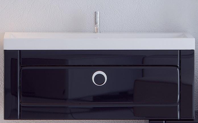 """""""Инфинити"""" Тумба с умывальником Infinity 1000подвесная с ящиком, цвет черный, две части Inf.01.10/001/BLK, ТМ"""