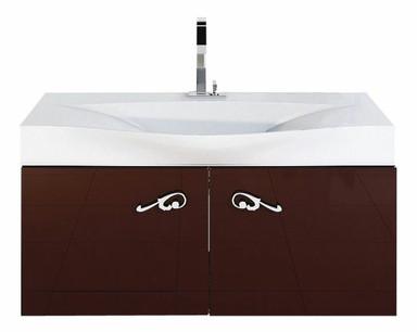 """""""Рома"""" Тумба с умывальником Bergamo 1000 подвесная, цвет коричневый, две части Rm.01.10/BRN, ТМ «AQWELLA»"""