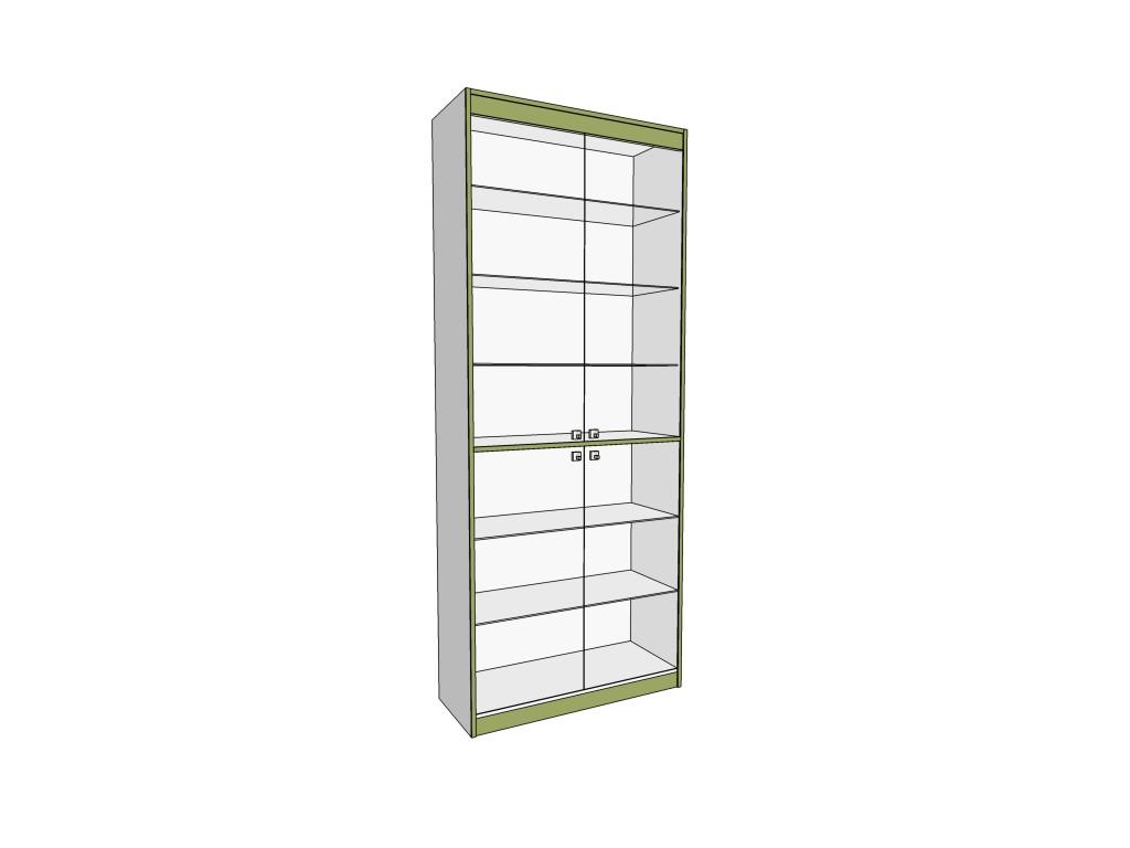 Пристенный шкаф для аптек со стеклянными дверьми