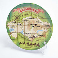 "Сувенирная тарелка ""Карта Казахстана_lat"" 18*18 см"