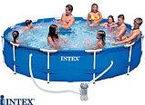 Каркасный сборный бассейн Intex Metal Frame Pool. 366 х 76см. с фильтром, фото 5