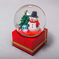 Стеклянный шар со снеговиком (14см)