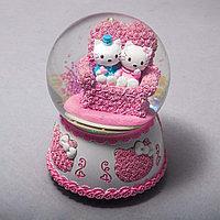 Стеклянный шар с котятами (14 см)