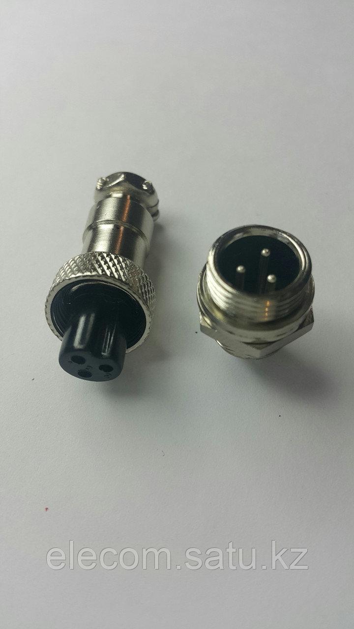 Разъем штыревой на блок с гайкой 3pin 12mm