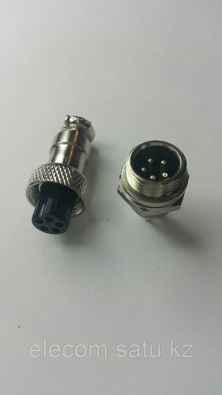 Разъем штыревой на блок с гайкой 5pin 12mm
