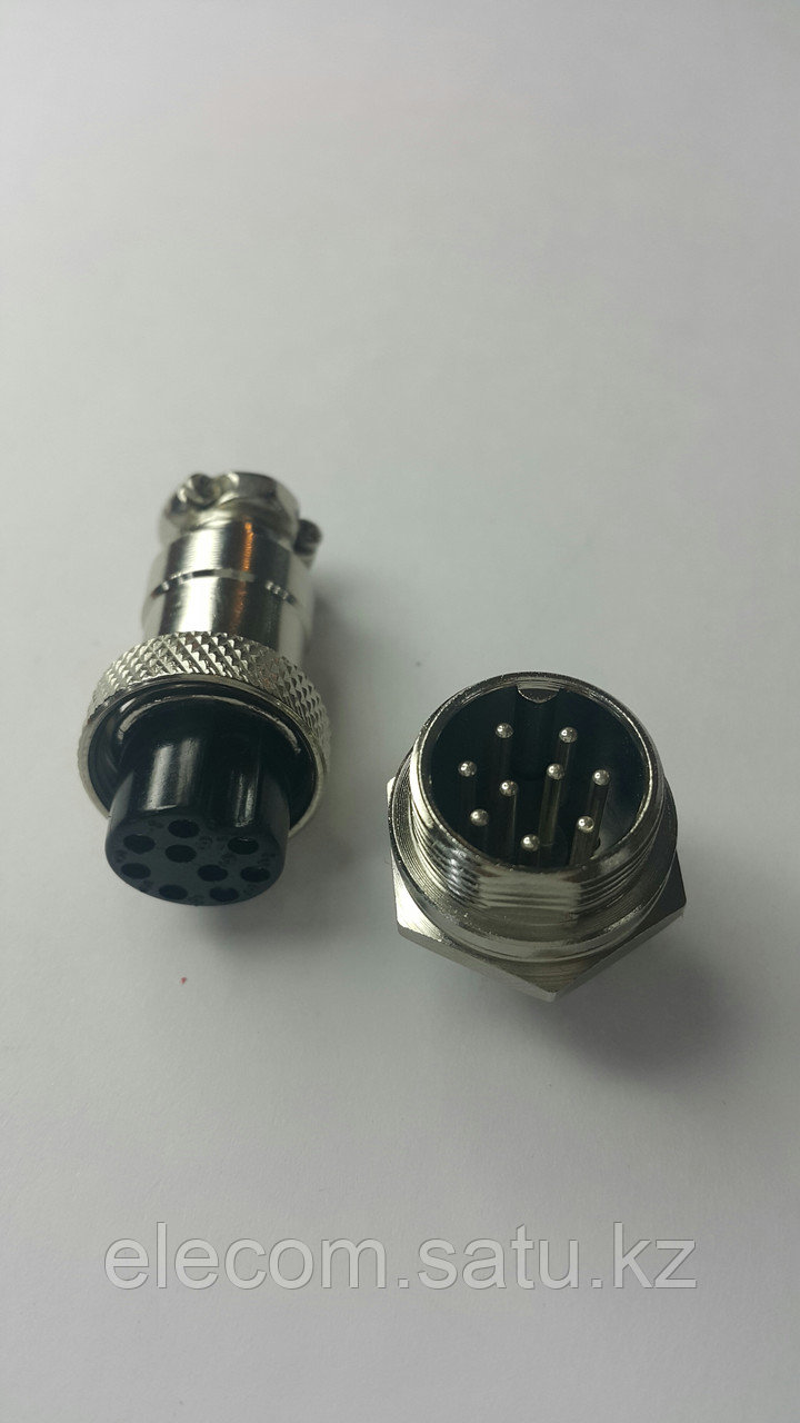 Разъем штыревой на блок с гайкой 9pin 16mm