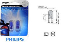 PHILIPS Лампа W5W BlueVision 12V 12961BV B2 (2шт