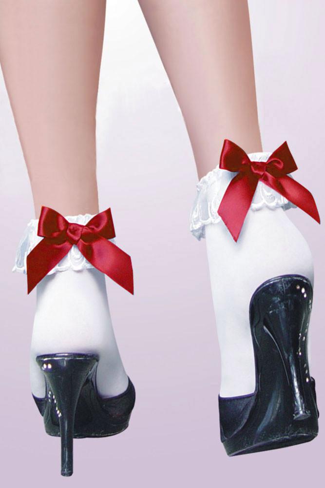 Носочки белые с красным бантиком