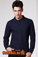 Темно-синий лонгслив-поло, мужская футболка-поло с длинным рукавом