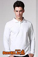 Белый лонгслив-поло, мужская футболка-поло с длинным рукавом, фото 1