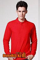 Красный лонгслив-поло, мужская футболка-поло с длинным рукавом, фото 1