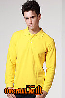 Желтый лонгслив-поло, мужская футболка-поло с длинным рукавом, фото 1