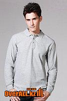 Серый лонгслив-поло, мужская футболка-поло с длинным рукавом, фото 1