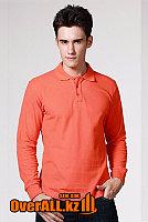 Оранжевый лонгслив-поло, мужская футболка-поло с длинным рукавом, фото 1