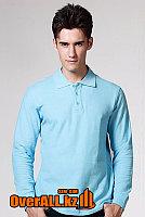 Голубой лонгслив-поло, мужская футболка-поло с длинным рукавом, фото 1