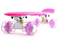 """Пластборд (Пенни борд) 22""""  розовая дека / колеса прозрачные со светодиодами, фото 1"""