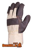 Кожаные комбинированные рабочие перчатки, фото 1