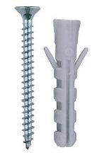 """Дюбель распорный полипропиленовый, тип """"ЕВРО"""", в комплекте с шурупом, 6 х 30 / 3,5 х 40 мм, 15 шт, ЗУБР"""