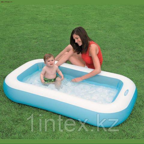 Детский бассейн с надувным дном 166х100х28см intex