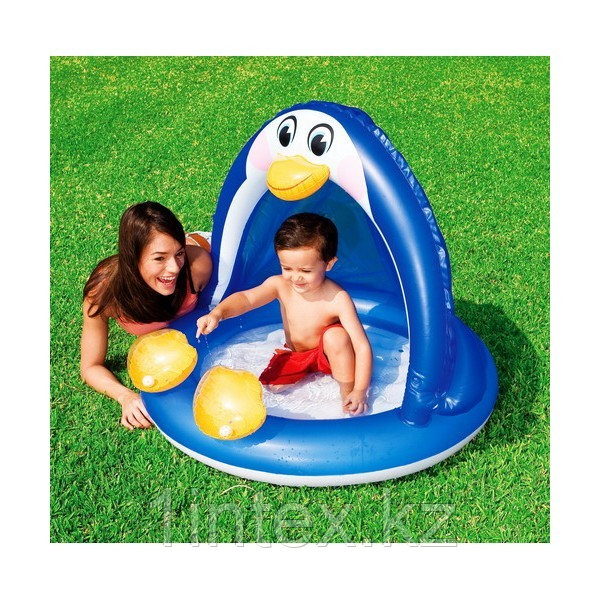 Надувной бассейн-игровой центр ПИНГВИН с навеcoм, 102х83 см от 1-3 лет
