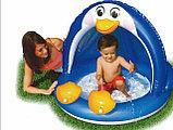 Надувной бассейн-игровой центр ПИНГВИН с навеcoм, 102х83 см от 1-3 лет, фото 3