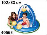 Надувной бассейн-игровой центр ПИНГВИН с навеcoм, 102х83 см от 1-3 лет, фото 4