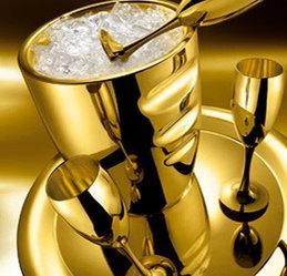 Цептер Сет для шампанского с полной позолотой