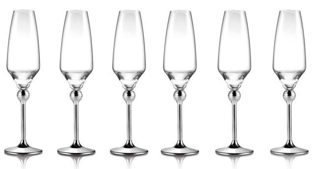 Сет Магическая гармония 6 бокалов для шампанского с металлическими ножками