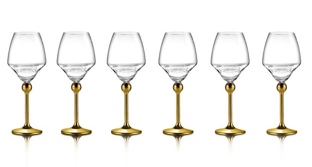 Сет Магическая гармония 6 бокалов для белого вина с позолоченными ножками