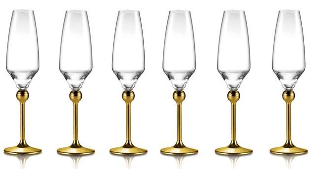 Сет Магическая гармония 6 бокалов для шампанского с позолоченными ножками