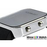 Зеркальные светодиодные часы с цифровым дисплеем и каучуковый ремешок, фото 2