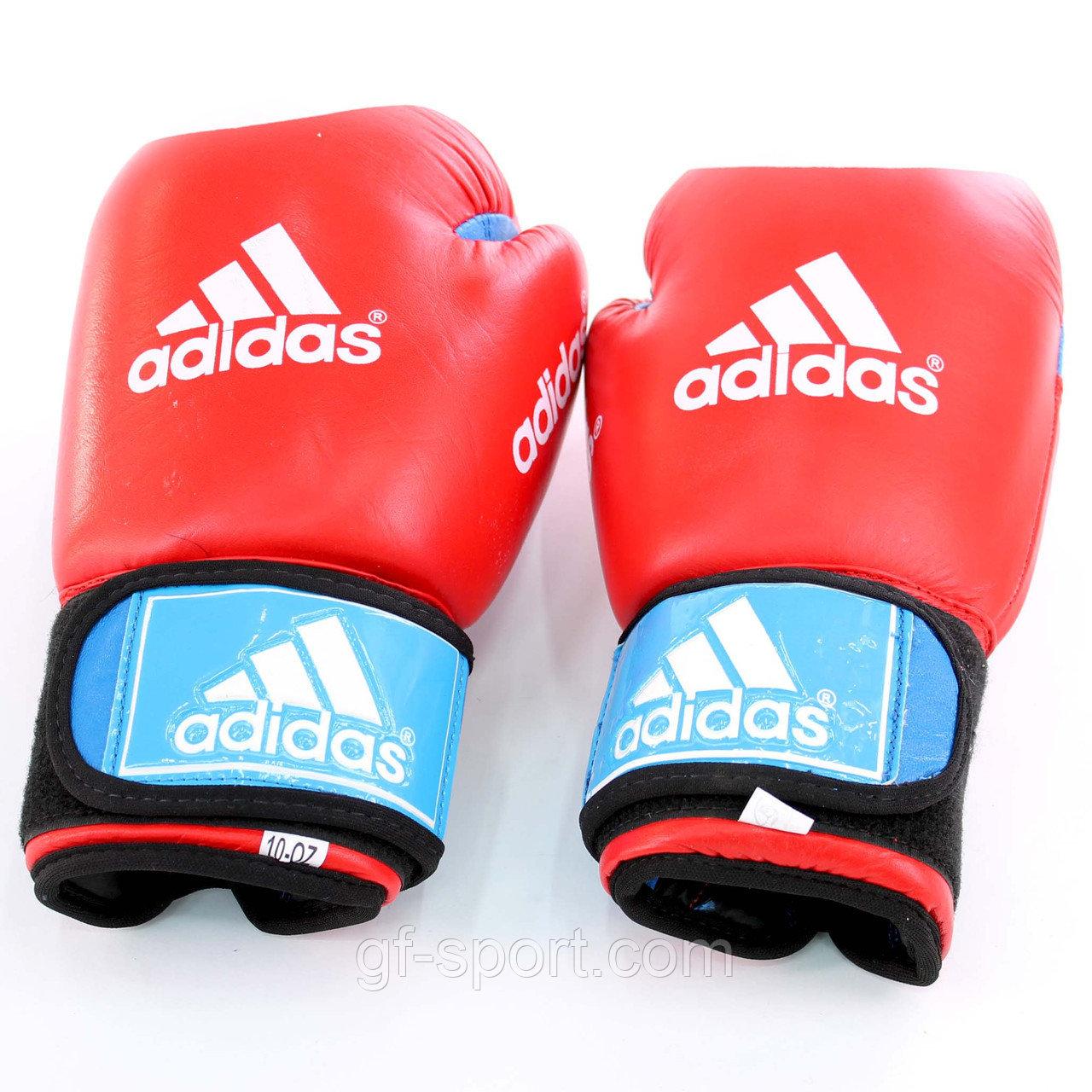 Перчатки кожанные Adidas красные,с голубой застежкой