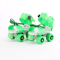 Роликовые коньки, раздвижные на парных колесах(зеленые)