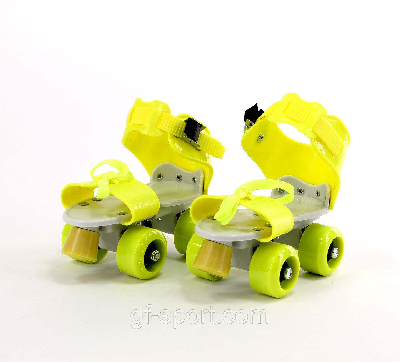 Роликовые коньки, раздвижные на парных колесах(желтые)