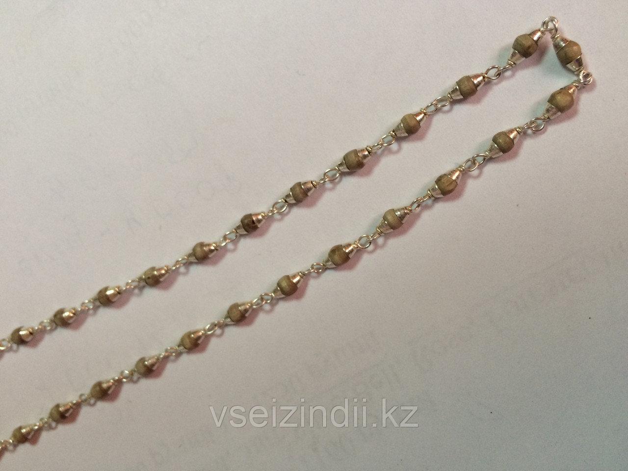 Катхиматы в серебре с Туласи, светлые, 4 мм, длина 25 см