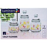 Набор банок для сыпучих Luminarc Crazy flower 0,5/0,75/1л 3пр, фото 3